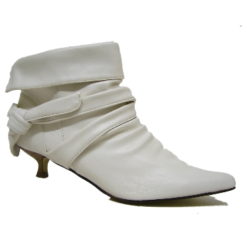 white ruched kitten heel pointy ankle boots size uk 4 7
