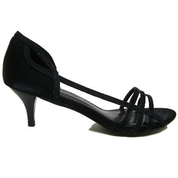 Black Glitter Kitten Heel Prom Sandals Shoes Size 3 8 Buy