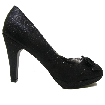 black glitter dorothy platform bow court shoes size 3 7