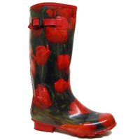 View Item RED TULIP FESTIVAL WELLIES WELLINGTON BOOTS SIZE UK 4-8
