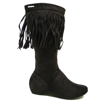 NEW BROWN TASSEL FLAT SUEDE EFFECT BOHO BOOTS SIZE 3-8 Preview