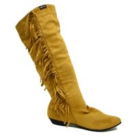 View Item WOMENS CAMEL TASSEL RUCHED BOHO PIXIE BOOTS SIZE UK 3-8