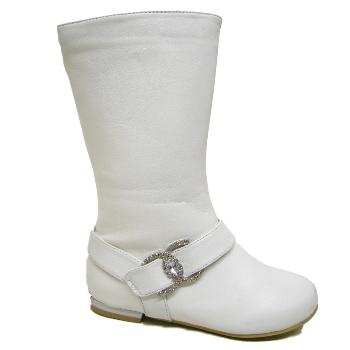 NEW GIRLS WHITE FLAT DIAMANTE KIDS BOHO BOOTS SIZE 10 3