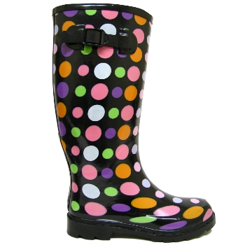 BLACK DOTTY WELLIES FESTIVAL WELLINGTON BOOTS SIZE 3-8 Preview
