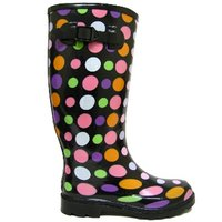 View Item BLACK DOTTY WELLIES FESTIVAL WELLINGTON BOOTS SIZE 3-8