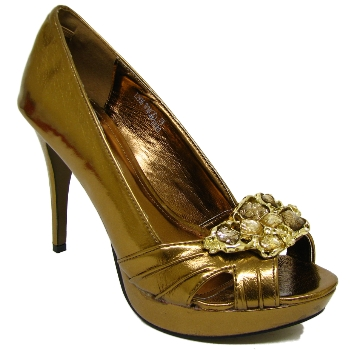 bronze platform stiletto prom peep toe shoes size 3 8 buy