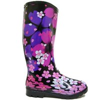 View Item BLACK FLOWER WELLIES WELLINGTON FESTIVAL BOOTS SIZE 3-8
