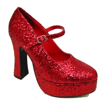 Item Details - RED GLITTER MARY JANE DOROTHY PLATFORM SHOES SIZE 3-9