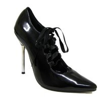 View Item NEW BLACK PATENT POINTY LACE-UP RIBBON SHOES SIZE 3-8