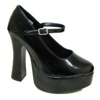 View Item BLACK PATENT BUCKLE PLATFORM MARY JANE SHOES SIZE 3-9