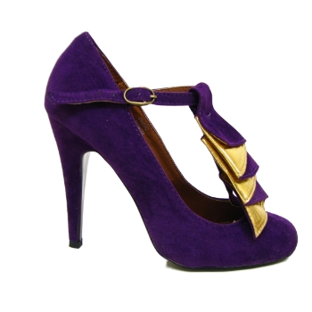 NEW WOMENS PURPLE RUFFLE MARY JANE COURT SHOES SIZE 3-8 Preview