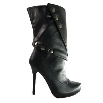 NEW BLACK LEATHER EFFECT PLATFORM CALF BOOTS SIZE 3-8 Preview