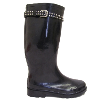 BLACK STUD WELLIES ROCK CHICK WELLINGTON BOOTS SIZE 3-8 Preview