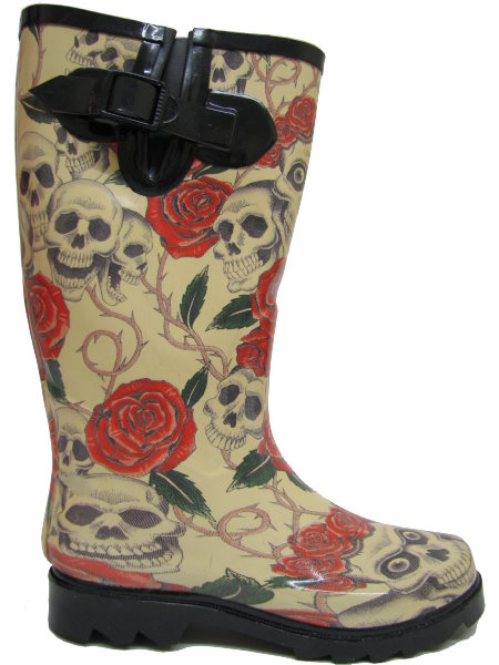 new skull roses wellies wellington rain boots size 3 8 ebay. Black Bedroom Furniture Sets. Home Design Ideas