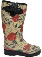 View Item NEW SKULL ROSES WELLIES WELLINGTON RAIN BOOTS SIZE 3-8