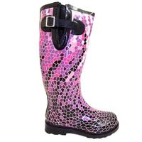 View Item NEW PURPLE PINK MOSAIC WELLIES WELLINGTON BOOT SIZE 3-8