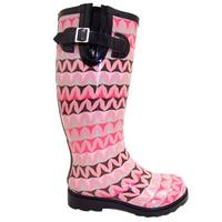 View Item PINK BROWN BLACK ZIGZAG WELLIE WELLINGTON BOOT SIZE 3-8