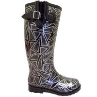 View Item BLACK SILVER FESTIVAL WELLIE WELLINGTON BOOTS SIZE 3-8