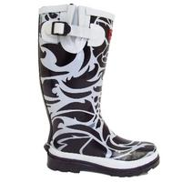 View Item LADIES BLACK WHITE TRIBAL WELLINGTON BOOT SIZE 4-8