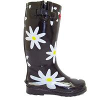 View Item BLACK WHITE DAISY WELLIES WELLINGTON RAIN BOOT SIZE 4-8