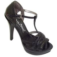 View Item LADIES BLACK T-BAR PLATFORM SANDALS SHOE SIZE 3-8
