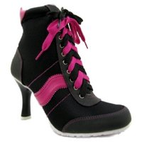 View Item BLACK HOT PINK 80's TRAINER BOXER ANKLE BOOTS SIZE 7-8