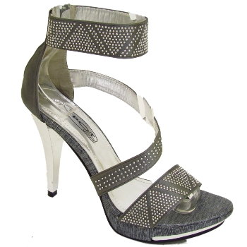 Pewter satin bridal wedding prom sandals shoes size 3 buy for Pewter dress shoes for wedding