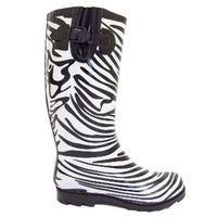 View Item BLACK WHITE ZEBRA WELLIES WELLINGTON RAIN BOOT SIZE 3-8