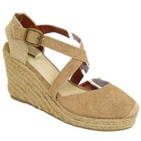 View Item NEW BEIGE HESSIAN WEDGE CANVAS SANDALS SHOES SIZE 3-9
