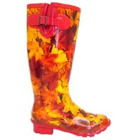 View Item LADIES RED AUTUMN LEAF WELLIES WELLINGTON BOOT SIZE 4-7