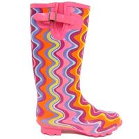 View Item LADIES PINK WAVE WELLIES WELLINGTON RAIN BOOTS SIZE 4-7