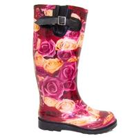 View Item RED PINK ROSES FESTIVAL WELLIES WELLINGTON RAIN BOOTS