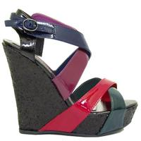 View Item MULTI GLITTER LADIES PLATFORM WEDGE SHOES SIZES 3-8