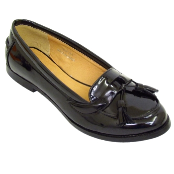 WOMENS BLACK PATENT COMFORT LOAFERS LADIES SECRETARY SHOES