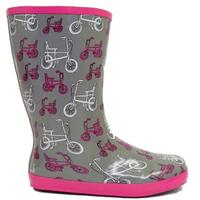 View Item LADIES GREY PINK BICYCLE WELLIES WELLINGTON RAIN BOOTS SIZE 3-8