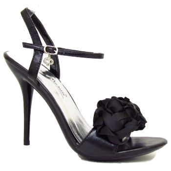 LADIES ELEGANT BLACK RUFFLE STRAPPY SANDALS WOMENS PROM PARTY SHOES SIZE 3-8 Preview