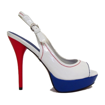 WHITE RED BLUE PLATFORM PEEP-TOE SLINGBACK PATENT NAUTICAL SHOES SIZE 3-8 Preview
