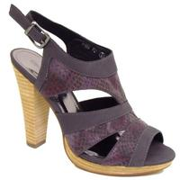 View Item WOMENS CHARCOAL PURPLE SNAKESKIN PLATFORM STRAPPY LADIES SANDALS SHOES SIZE 3-8