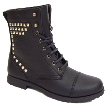 WOMENS-NEW-BLACK-MILITARY-LACE-UP-STUD-ROCK-CHICK-LADIES-ANKLE-BOOTS-SIZES-3-8