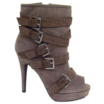LADIES GREY SUEDE EFFECT BUCKLE PEEP-TOE PLATFORM ZIP-UP ANKLE BOOTS SIZE 3-8 Preview