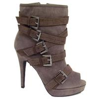 View Item LADIES GREY SUEDE EFFECT BUCKLE PEEP-TOE PLATFORM ZIP-UP ANKLE BOOTS SIZE 3-8