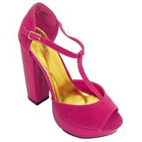 View Item LADIES FUCHSIA PINK DESIGNER PLATFORM WOMENS T-BAR PEEP-TOE SANDAL SHOE SIZE 3-8