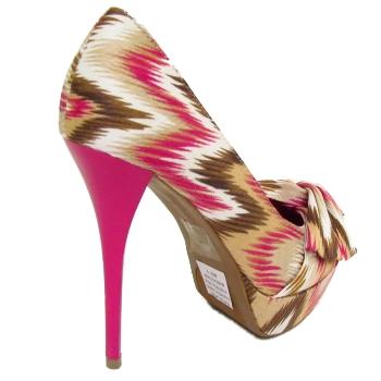 fuschia pink zig zag platform bow womens stiletto