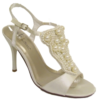 WOMENS CREAM SATIN BRIDAL OFF WHITE EVENING BEADED SANDALS SHOES SIZES 3 8