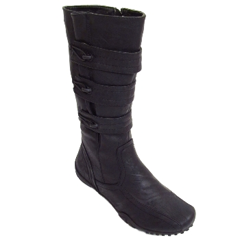 LADIES-BLACK-WIDE-FIT-FITTING-CALF-ZIP-UP-STRETCH-WOMENS-BUCKLE-BOOTS-SIZES-3-9