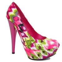 View Item LADIES FUCHSIA PINK SATIN PLATFORM ROUND-TOE WOMENS COURT SHOES SIZES 3-8