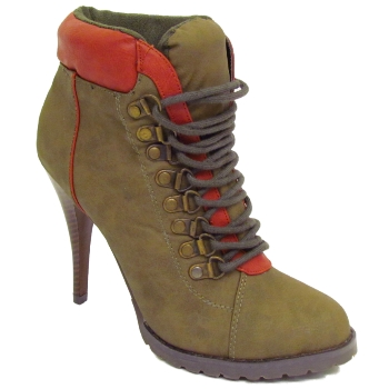 LADIES KHAKI GREEN MILITARY ARMY STYLE LACE-UP HIGH-HEEL WOMENS BOOTS SIZES 3-8 Preview