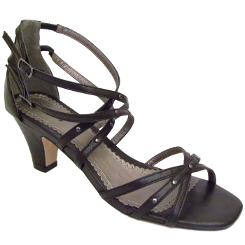BLACK STRAPPY LOW KITTEN HEEL PETITE GIRLS SUMMER SANDALS SIZES 1