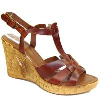 View Item LADIES DARK TAN LEATHER ITALIAN STRAPPY CORK WEDGE SHOES SANDALS SIZES 3-8