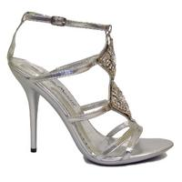 View Item WOMENS SILVER BRIDAL WEDDING BRIDESMAID PROM DIAMANTE LADIES SANDALS SIZE UK 3-8
